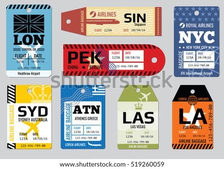 Vintage luggage tags, travel labels set. Badge for baggage, cardboard coupon illustration