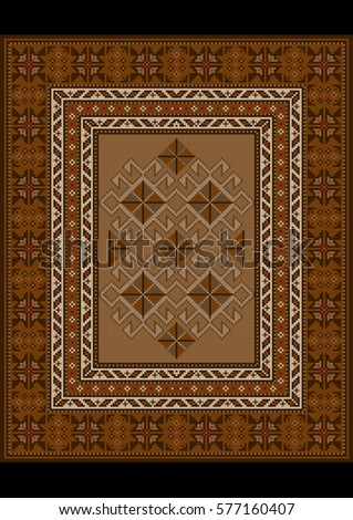 Vintage luxurious oriental carpet with ethnic pattern in brown shades  #577160407