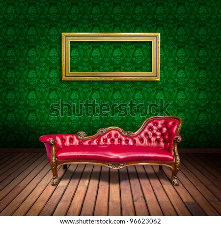 vintage luxury armchair and frame in  room