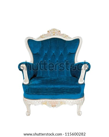 Vintage luxury Blue sofa Armchair isolated on white background with Clipping path - stock photo