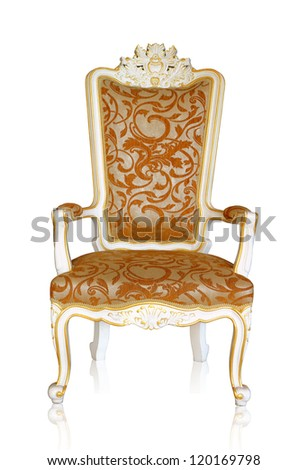 Vintage luxury white and golden armchair isolated on white background, clipping path