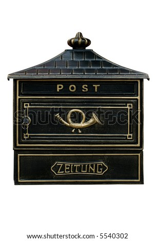 Vintage mail box,isolated on white,clipping path included