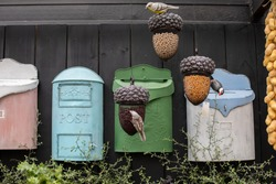 Vintage mailbox, decorative set. Old fashioned mailboxes blue green. Shabby weathered postbox set, garden decoration
