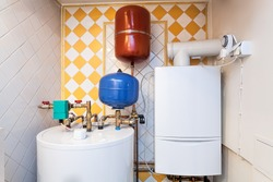 Vintage mansion - a boiler room with containers and pipes