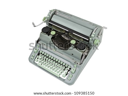 Vintage manual green metal typewriter isolated with clipping path.