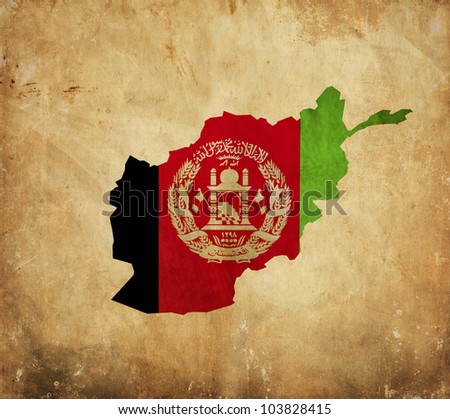 Vintage map of Afghanistan on grunge paper - stock photo