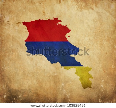 Vintage map of Armenia on grunge paper