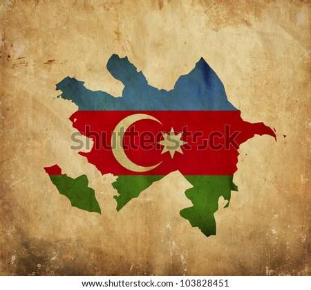 Vintage map of Azerbaijan on grunge paper - stock photo