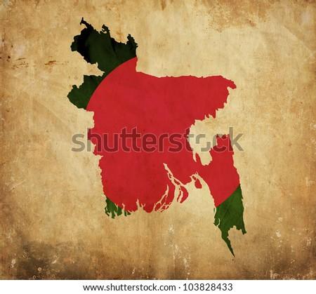 Vintage map of Bangladesh on grunge paper