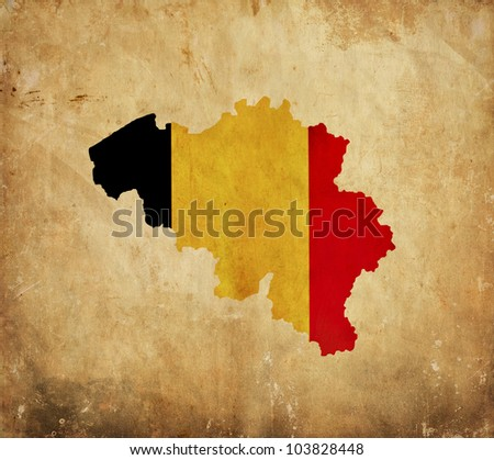 Vintage map of Belgium on grunge paper