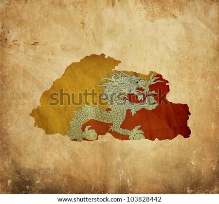 Vintage map of Bhutan on grunge paper