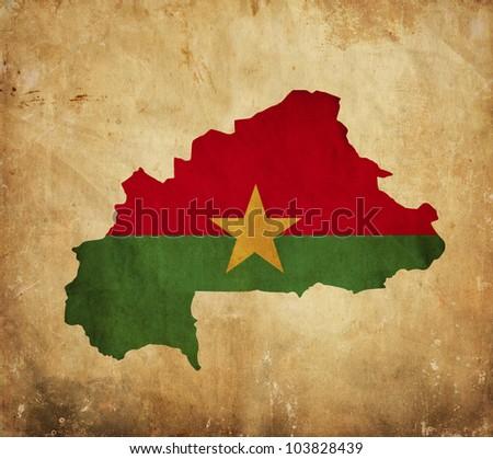 Vintage map of Burkina Faso on grunge paper