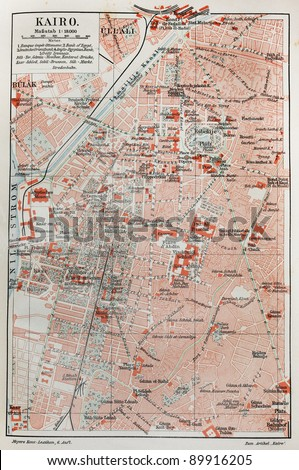 Vintage map of Cairo at the end of 19th century. Picture from Meyers Lexicon books collection (written in German language ) published in 1907.