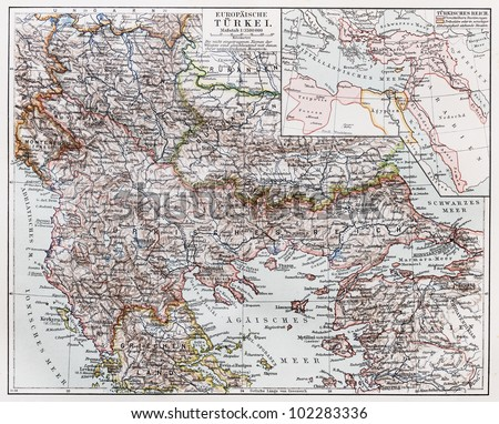 Vintage map of European part of Turkey at the end of 19th century - Picture from Meyers Lexikon book (written in German language) published in 1908 Leipzig - Germany.