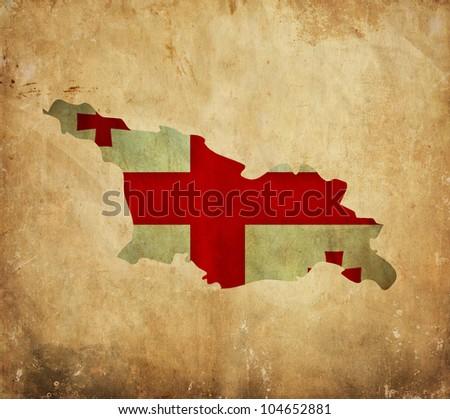 Vintage map of Georgia on grunge paper - stock photo