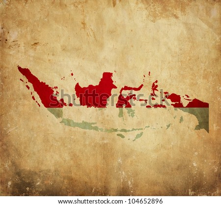 Vintage map of Indonesia on grunge paper