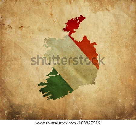 Vintage map of Ireland on grunge paper