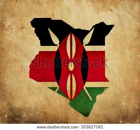 Vintage map of Kenya on grunge paper