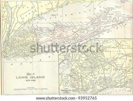 Vintage 1891 map of Long Island; out of copyright From old Atlas of the World