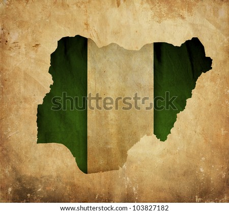 Vintage map of Nigeria on grunge paper - stock photo