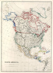 Vintage map of North America with Alaska as