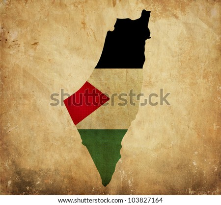 Vintage map of Palestine on grunge paper