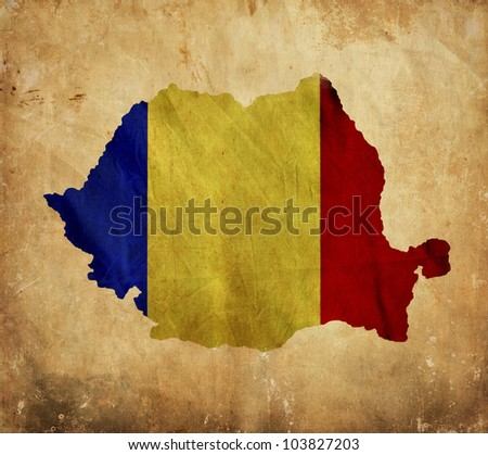Vintage map of Romania on grunge paper