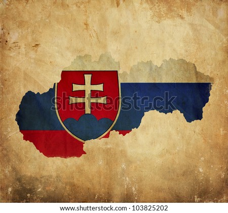 Vintage map of Slovakia on grunge paper