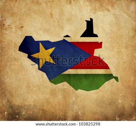 Vintage map of South Sudan on grunge paper - stock photo