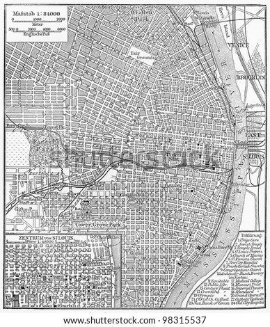 Vintage map of St. Louis center -  Picture from Meyers Lexicon books collection (written in German language ) published in 1909, Germany.