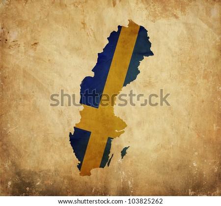 Vintage map of  Sweden on grunge paper
