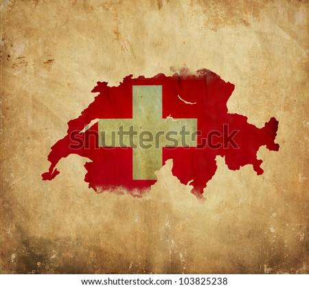 Vintage map of  Switzerland on grunge paper