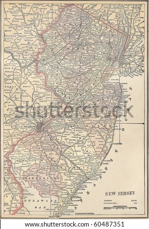 vintage 1891 map of the state...