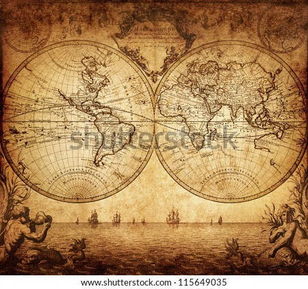 vintage map of the world 1733 - stock photo