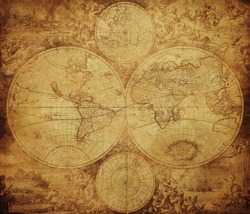 vintage map of the world circa 1675-1710