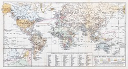 Vintage Map of the world telegraph network at the beginning of 20th century - Picture from Meyers Lexikon book (written in German language) published in 1908 Leipzig - Germany.