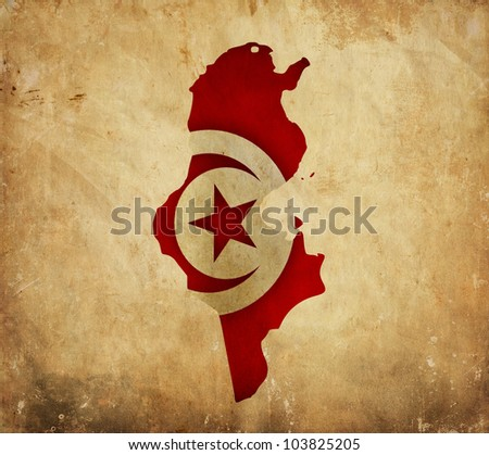 Vintage map of Tunisia on grunge paper