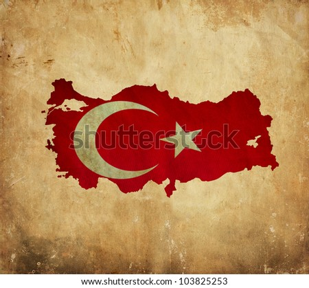 Vintage map of Turkey on grunge paper