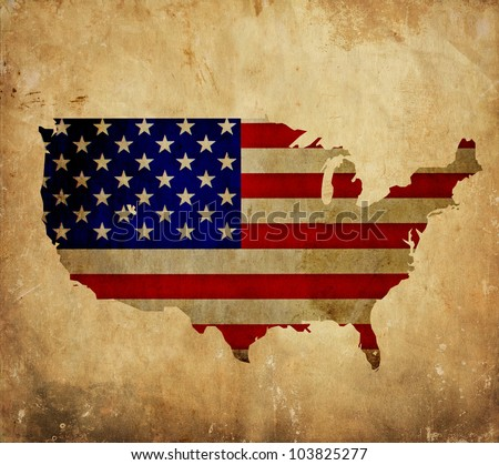 Vintage map of United States of America on grunge paper