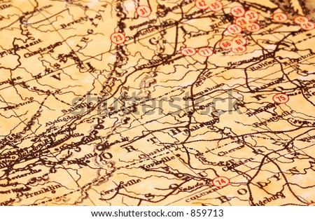 Vintage Map of Virginia and Nort Carolina