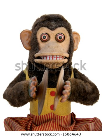 Vintage mechanical monkey toy with cymbal, upper body
