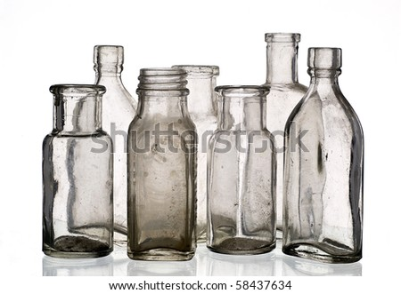 Vintage medicine bottles - isolated on white ground
