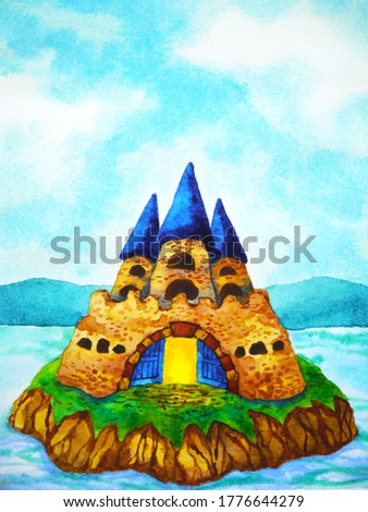 vintage medieval castle watercolor painting illustration design hand drawing
