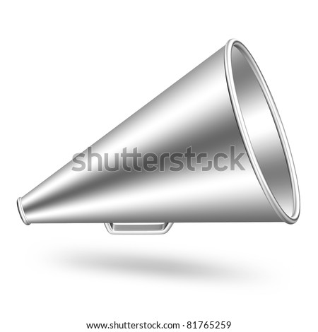 Vintage megaphone in silver on isolated white background. 3D render image and part of icon series.