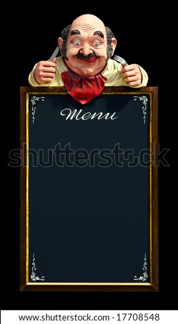 Vintage menu frame with hungry dummy isolated in black - stock photo