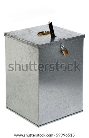 Vintage metal ballot box with padlock ticket voting