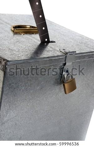 Vintage metal ballot box with padlock ticket voting