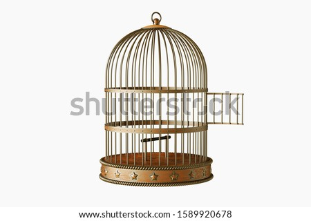 Vintage metal bird cage with door open isolated on white background Foto stock ©