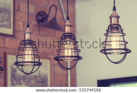 vintage metal cap lamp hanging...