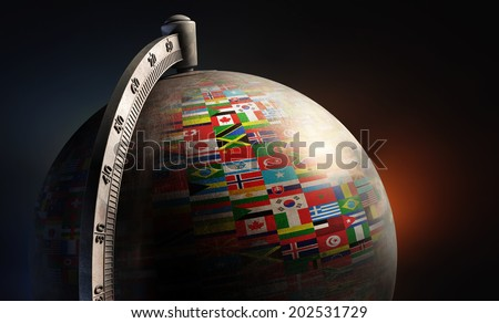 vintage metal desktop globe...